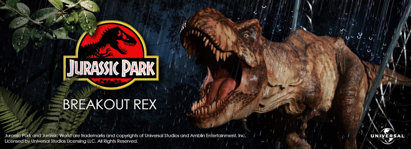 Pre-order now: Official limited Jurassic Park Tyrannosaurus Breakout statue!
