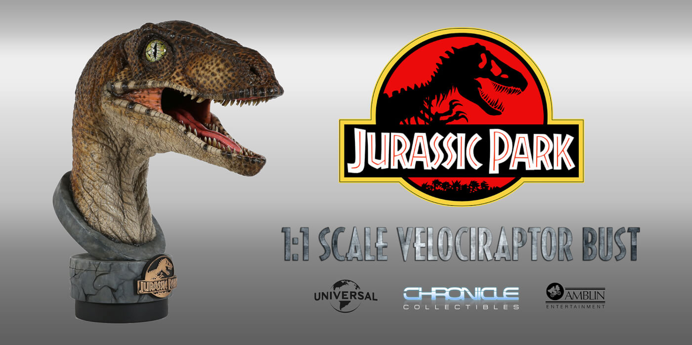Chronicle Collectibles Jurassic Park 1:1 Velociraptor Bust is Now Available for Pre-Order!