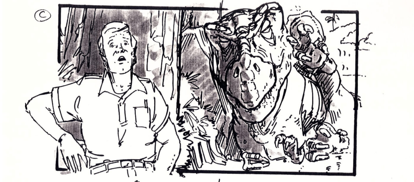 Rare Jurassic Park Storyboards Reveal Scrapped Scene – T. rex at the Lagoon!