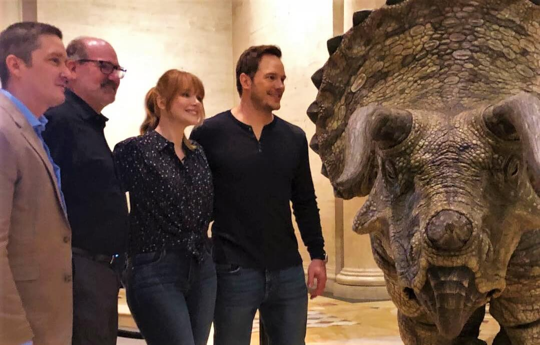 Chris Pratt and Bryce Dallas Howard Film Jurassic World Fallen Kingdom Promo at NHMLA!