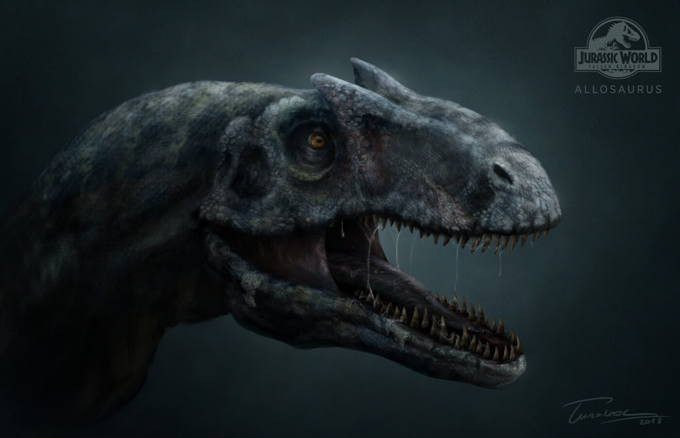 This Fan Art Brings the 'Jurassic World Fallen Kingdom' Allosaurus and Baryonyx to Life!