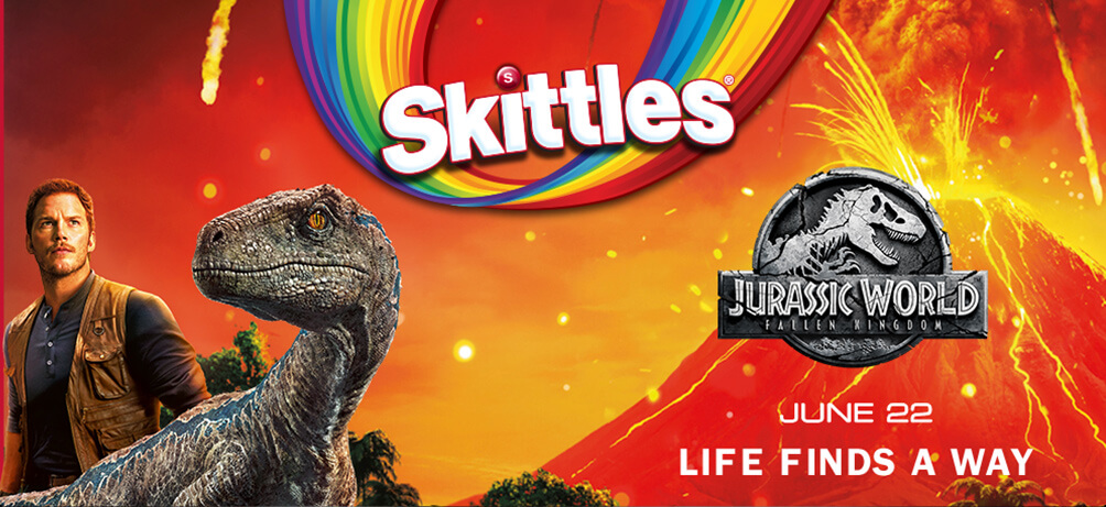 Skittles announces movie ticket promotion for Jurassic World Fallen Kingdom!