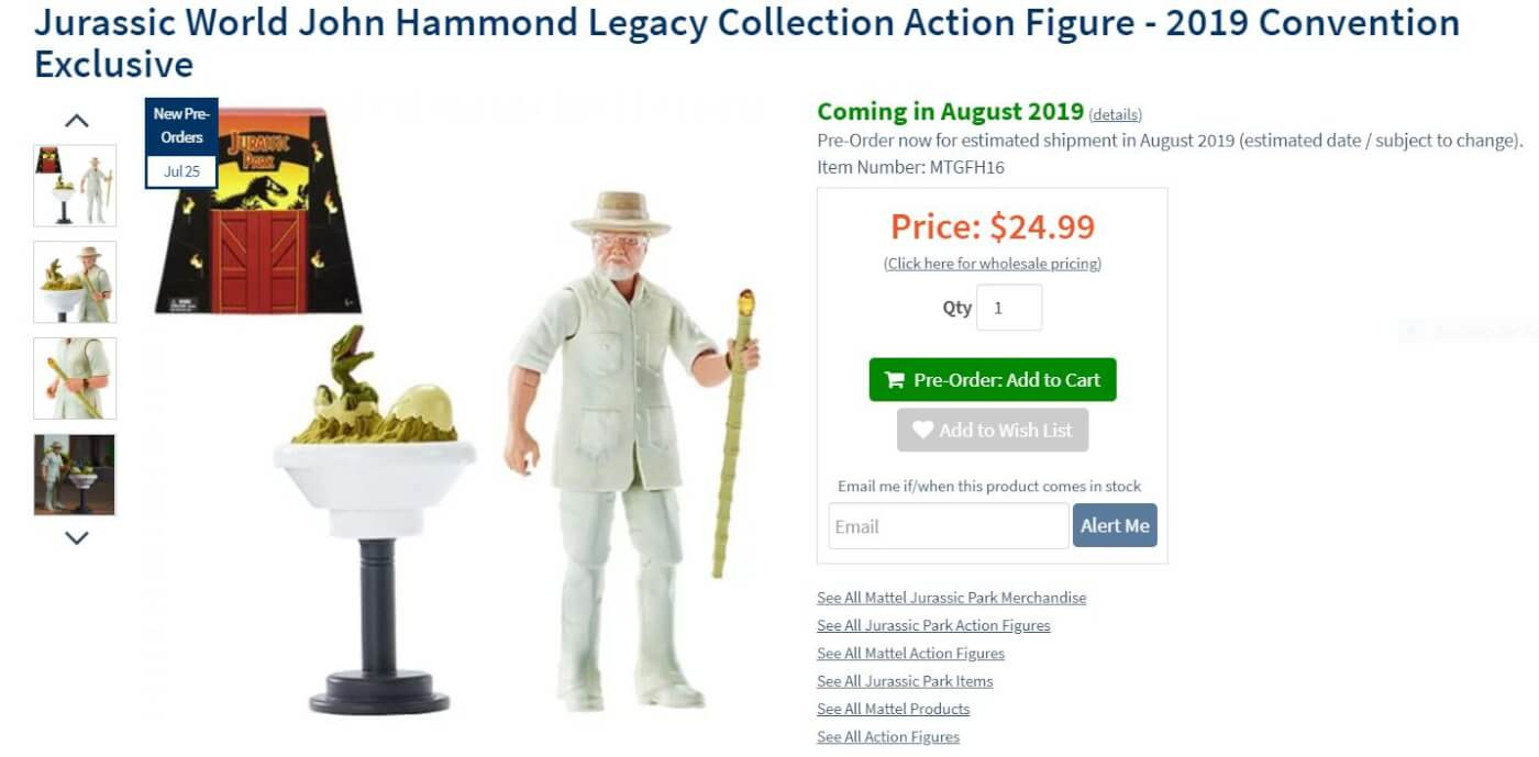 Didn't Make It to SDCC? You Can Now Buy Mattel's 'Jurassic World Legacy Collection' John Hammond Toy Online for a Limited Time!