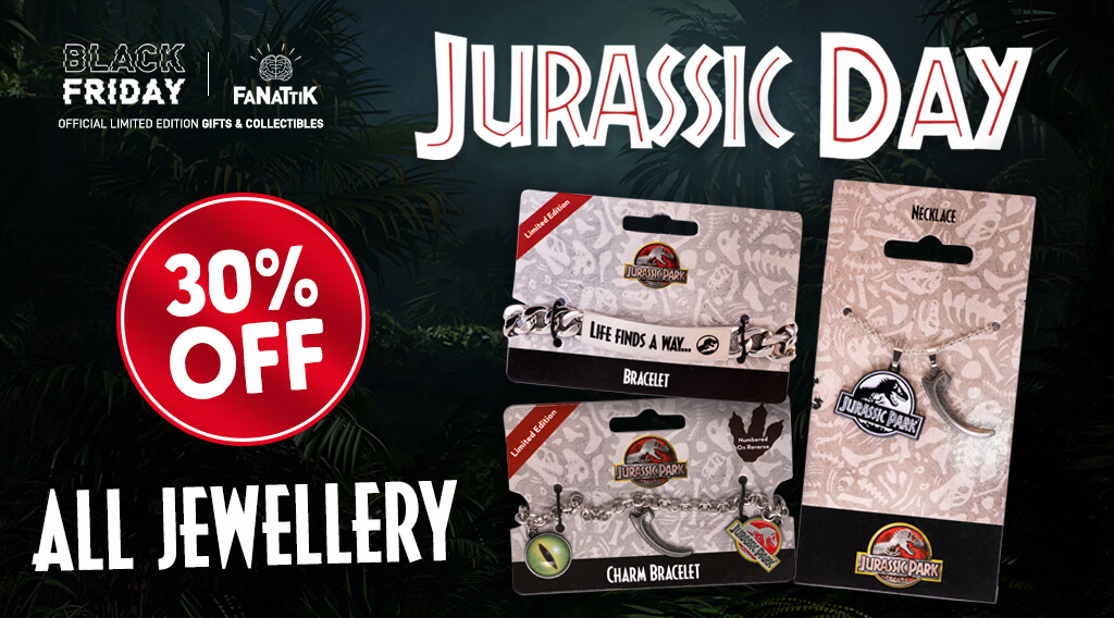 Jurassic Day - Image of Jurassic Park themed jewellery items.