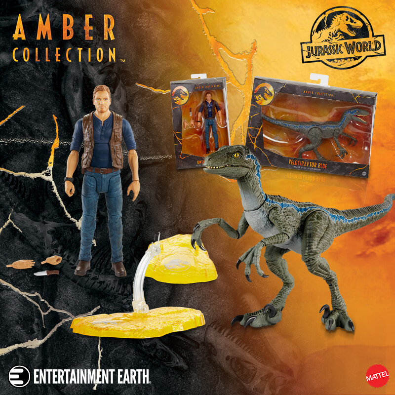 Mattel's Jurassic World Amber Collection Owen and Blue Now Available at Entertainment Earth!